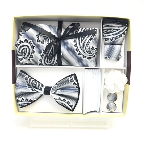 Men/'s Black /& Silver Checkered Bow Tie with matching Hanky and Lapel Flower
